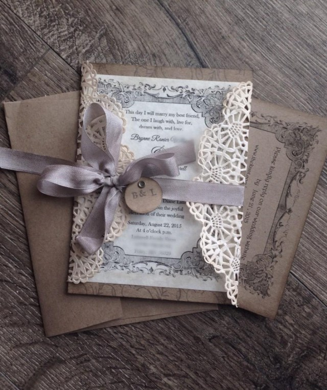 Country Wedding Invitation Wording Rustic Gray Lace Wedding Invitation Sample Rustic Wedding Invite