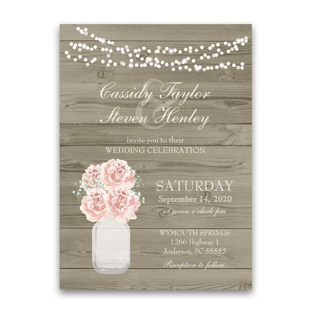 Country Wedding Invites Rustic Mason Jar Barn Wood Country Wedding Invitations