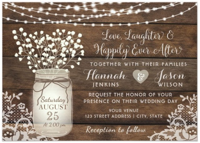 Country Wedding Invites Rustic Wood Lace Wedding Invitation Mason Jar Invitation Wedding