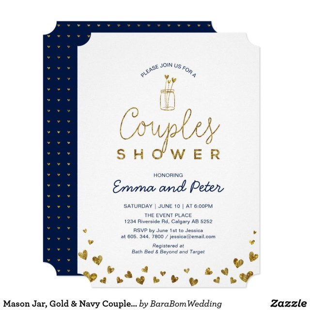Couples Wedding Shower Invitations Mason Jar Gold Navy Couples Wedding Shower Invitation Barabom