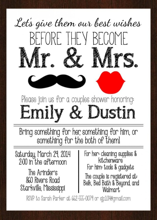 Couples Wedding Shower Invitations Printable Mr Mrs Couples Wedding Shower Invitation Lips And