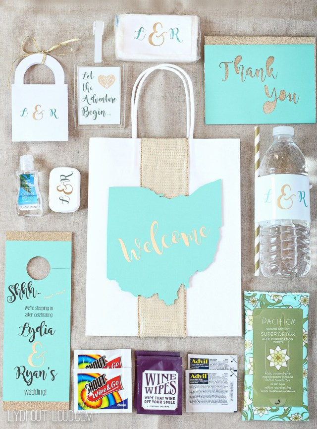 Cricut Wedding Projects Diy Wedding Guest Gift Bags Essentials Lydi Out Loud