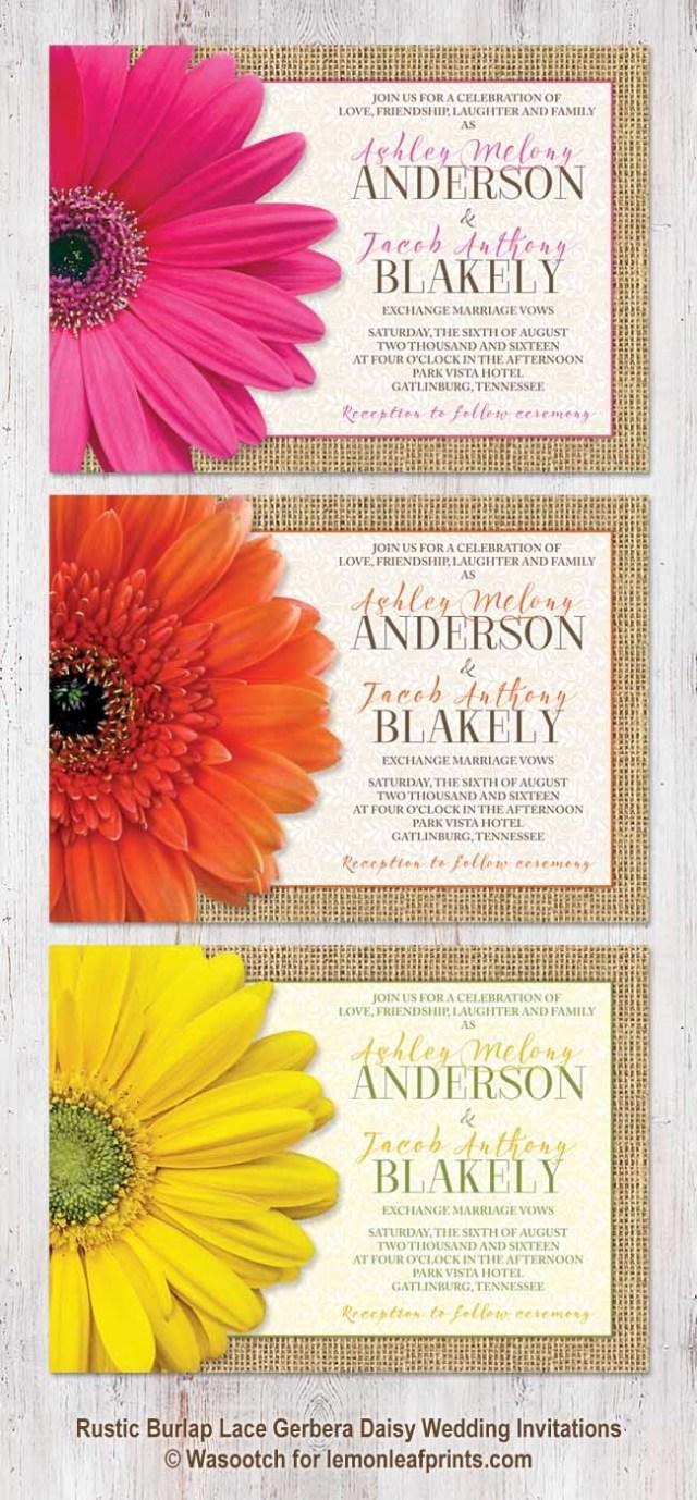 Daisy Wedding Invitations Rustic Burlap Lace And Gerbera Daisy Wedding Invitations Available