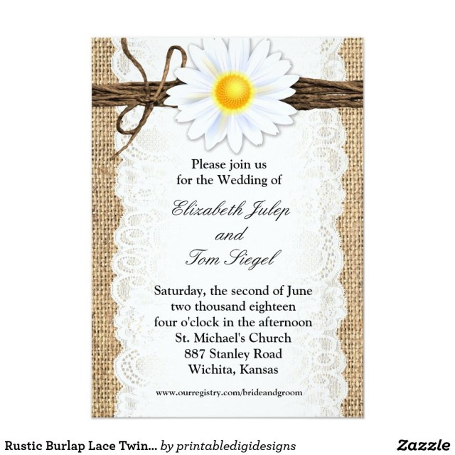Daisy Wedding Invitations Rustic Burlap Lace Twine Daisy Wedding Invitation Rustic Wedding