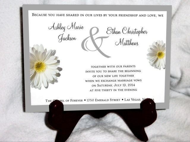 Daisy Wedding Invitations White Daisy Wedding Invitations Rsvps Reception Insert W Free