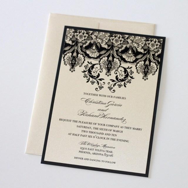 Damask Wedding Invitations Damask Wedding Invitation Elegant Wedding Invitation Floral Etsy