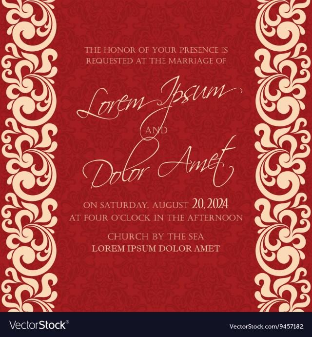 Damask Wedding Invitations Damask Wedding Invitation Red Royalty Free Vector Image