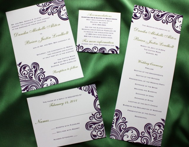 Damask Wedding Invitations Dark Purple Swirl With Green Accents Damask Wedding Invitations