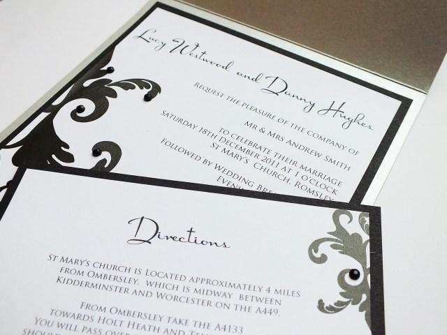 Damask Wedding Invitations Luxury Silver Damask Pocketfold Elegant Wedding Invitations Stationery