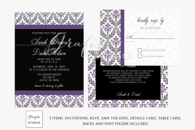 Damask Wedding Invitations Purple And Black Damask Wedding Invitation Template
