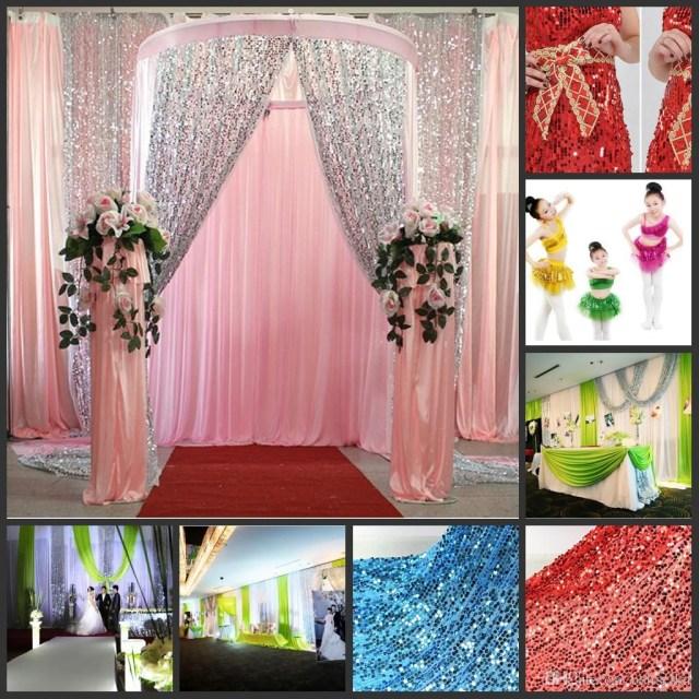 Decor Wedding Diy Multicolor Glitter Bling Sequins Cloth Diy Wedding Backdrop Curtains
