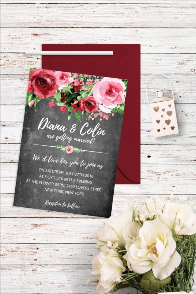 Digital Wedding Invitations Floral Chalkboard Wedding Invitation Flower Wedding Invitation