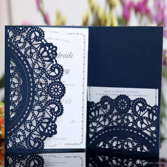 Discounted Wedding Invitations Wedding Invitations With Rsvp Cards White Navy Blue Laser Cut
