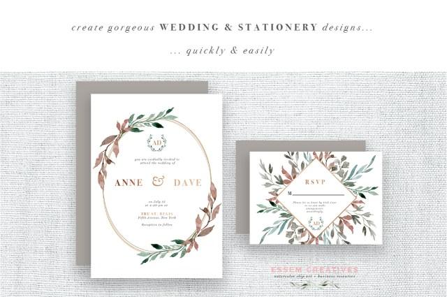 Diy Watercolor Wedding Invitations Watercolor Leaves Wreaths Clipart Diy Watercolor Wedding Invitations