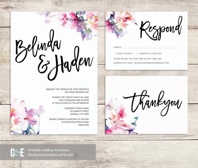 Diy Watercolor Wedding Invitations Watercolor Wedding Invite Multicolor Wedding Invitations Etsy