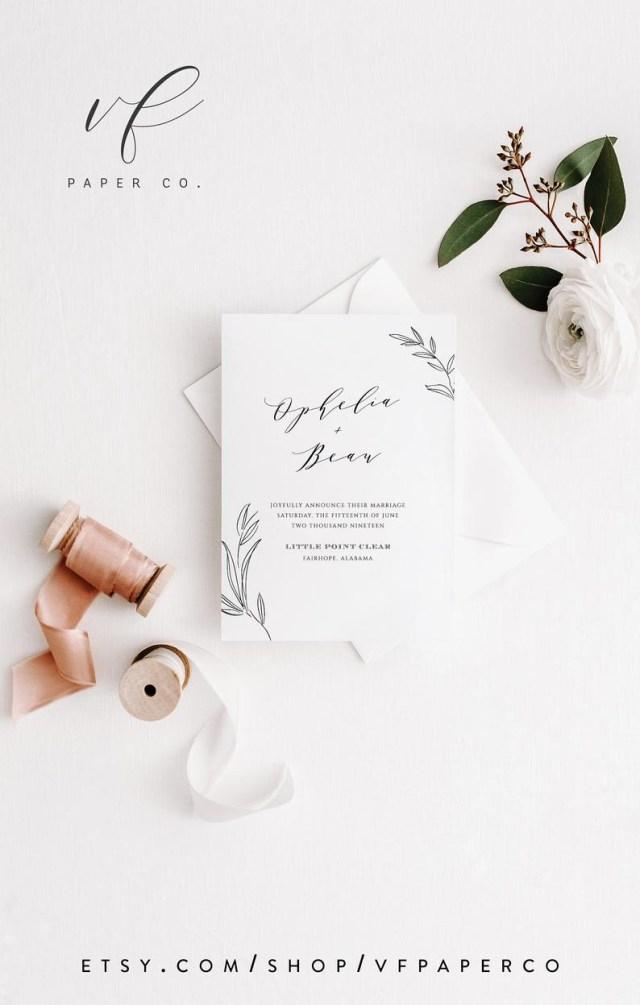 Diy Wedding Announcements Elopement Invitation Template Printable Wedding Announcement Etsy
