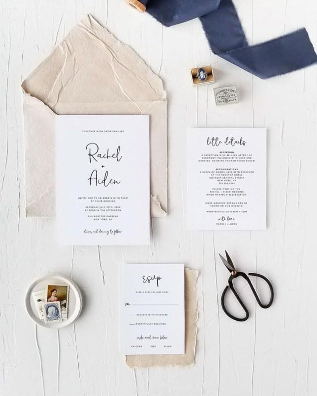 Diy Wedding Announcements Wedding Invitation Suite Template Editable Calligraphy Etsy