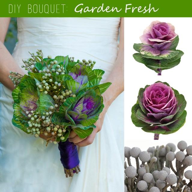 Diy Wedding Bouquet Diy Wedding Bouquet Garden Fresh Kale And Silver Brunia Fiftyflowers