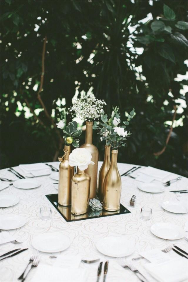 Diy Wedding Centerpiece Diy Wedding Ideas Uk Gold Centerpiece Gold Spray Painted Bottles