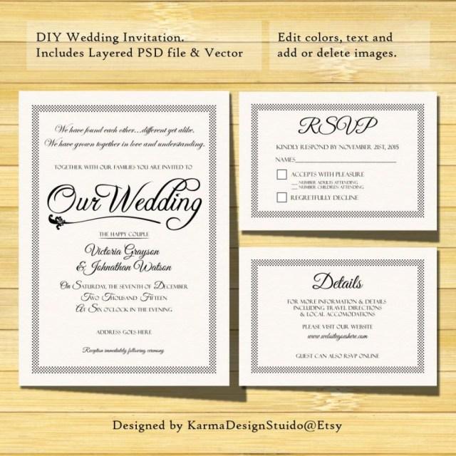 Diy Wedding Invitations Templates Wedding Invitation Template Instant Download Printable
