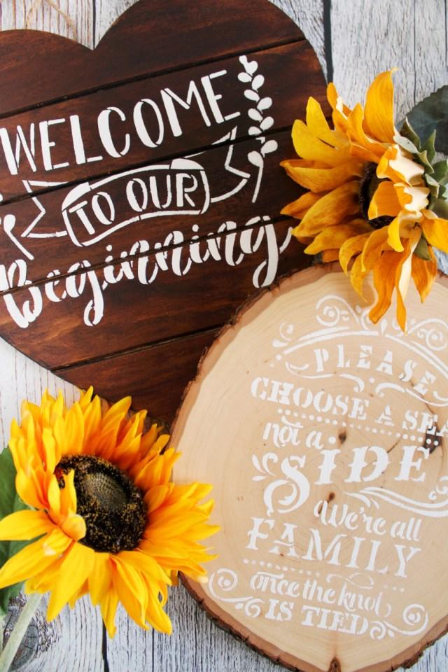 Diy Wedding Signs Rustic Stenciled Wedding Signs Diy Living La Vida Holoka
