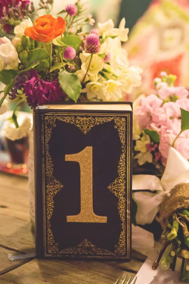 Diy Wedding Tables Colourful Vintage Diy Wedding Reception Book Table Number