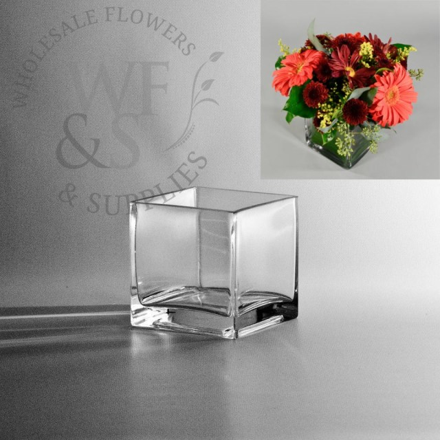Diy Wedding Vases Square Glass Cube Vase 4x4 Wholesale Flowers And Supplies