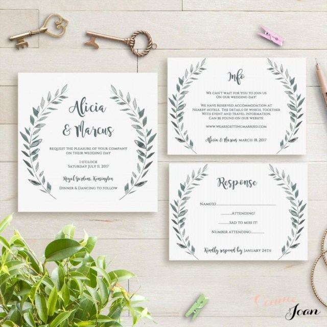 Do It Yourself Wedding Invitations Templates Wedding Invitation Template Rustic Printable Invitation Set 2593857