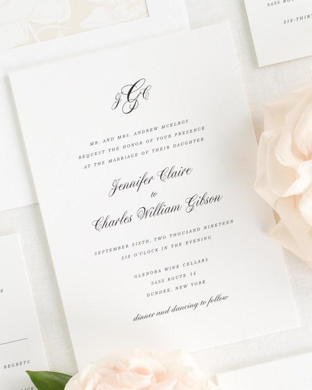 Elegant Wedding Invitation Elegant Wedding Invitations With A Statement Monogram Wedding