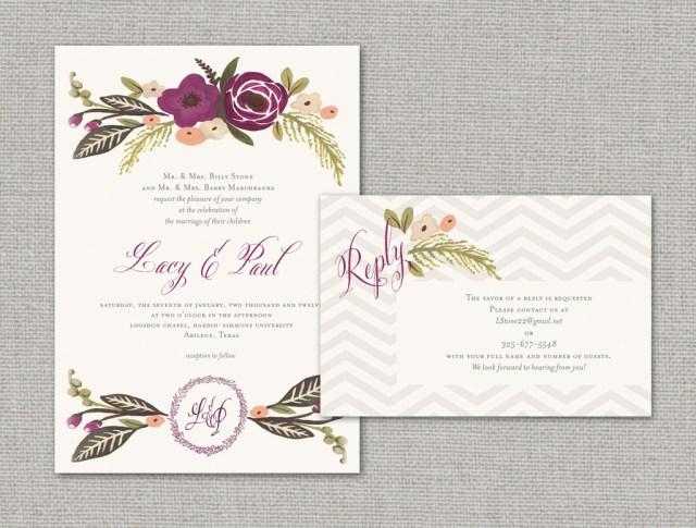 Elegant Wedding Invitation Elegant Wedding Invitations With Florals Chevron