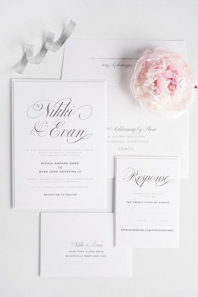 Elegant Wedding Invitation Pink Script Wedding Invitations Member Board Stationery