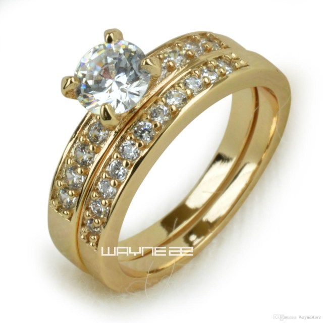 Engagement And Wedding 18k Gold Fileed Womens Engagement Wedding Ring Set Lab Diamonds R280
