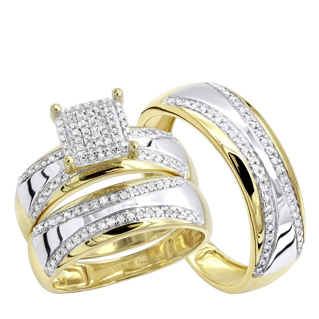 Engagement And Wedding Two Tone 10k Gold Wedding Band And Engagement Ring Set Round