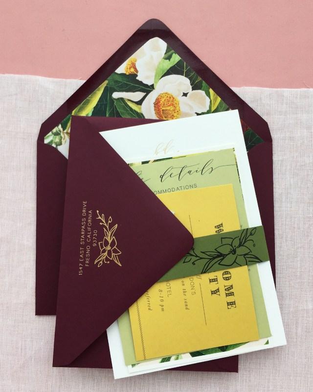 Envelopes For Wedding Invitations Romantic Burgundy And Gold Foil Wedding Invitations