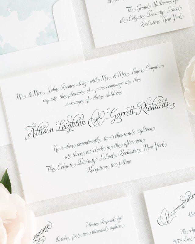 Fairytale Wedding Invitations Fairytale Wedding Invitation In All Script On White Shimmer