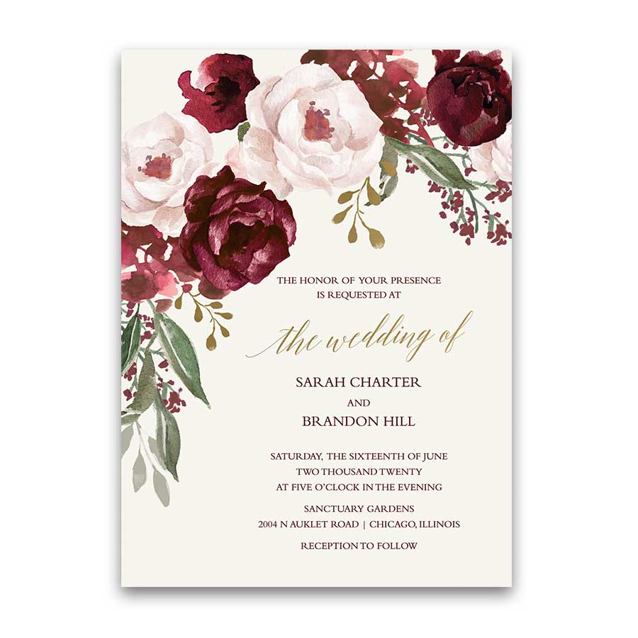 Fall Wedding Invitation Fall Wedding Invitations Burgundy Wine Gold Blush Floral