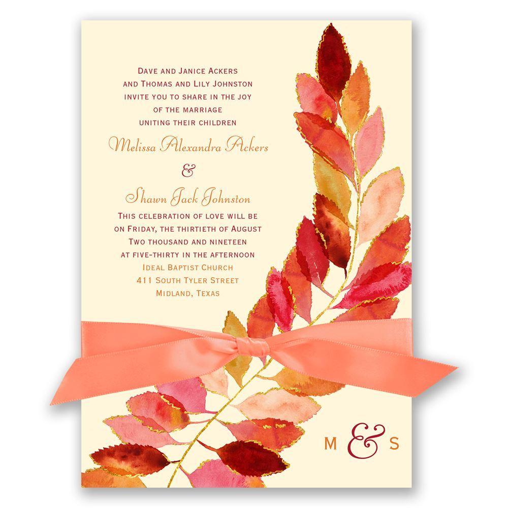 Fall Wedding Invitation Feathered Fall Invitation Invitations Dawn