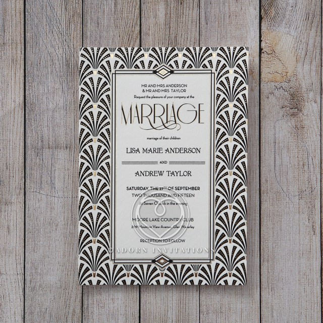 Foil Stamped Wedding Invitations Art Deco Styled Wedding Invitation Foil Stamped Glitzy