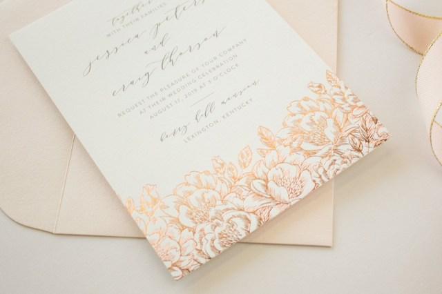 Foil Stamped Wedding Invitations Foil Stamped Wedding Invitations Romantic Invitations With Rose