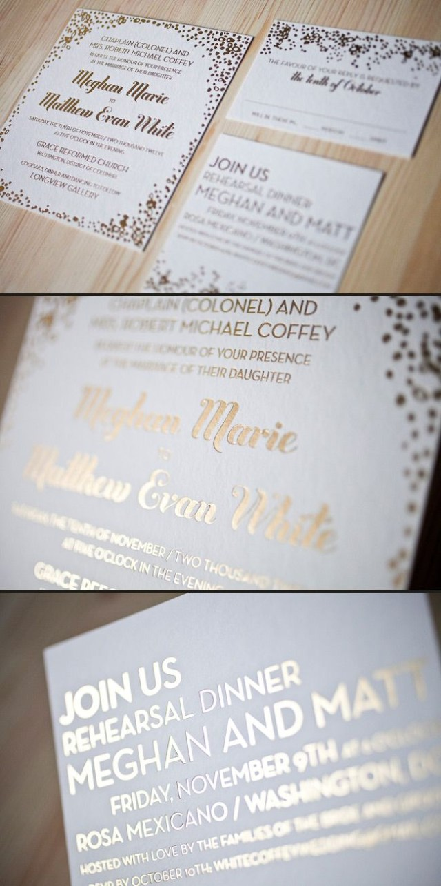 Foil Stamped Wedding Invitations Our Tatra Design Looks Stunning In 1 Color Foil Print