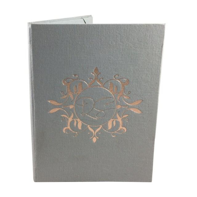 Foil Stamped Wedding Invitations Rosegold Foil Stamped Monogram Linen Wedding Invitation Folder