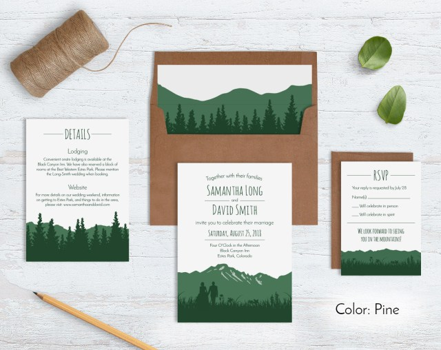 Forest Wedding Invitations Rustic Mountain Wedding Invitation Sets Wild Blue Weddings