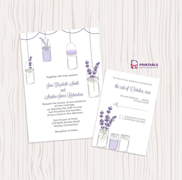 Free Printable Wedding Invitations Lavender And Mason Jar Wedding Invitation Free Printable Wedding
