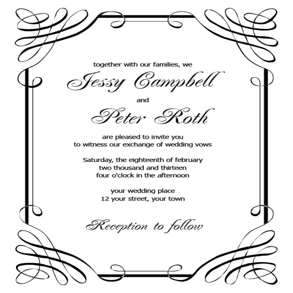 Free Wedding Invitation Templates For Word Free Printable Wedding Invitation Templates For Microsoft Word