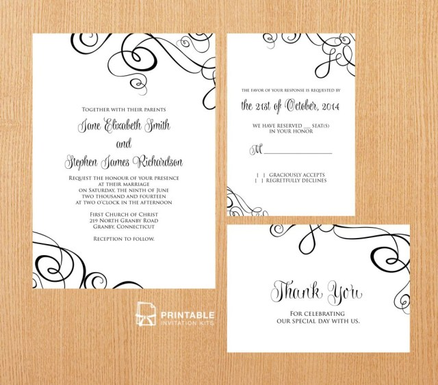 Free Wedding Invitations Free Pdf Templates Easy To Edit And Print At Home Elegant Ribbon