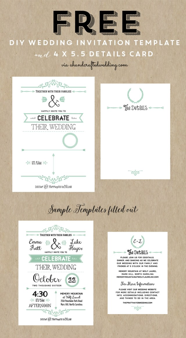 Free Wedding Invitations Free Printable Wedding Invitation Template Wedding Pinterest