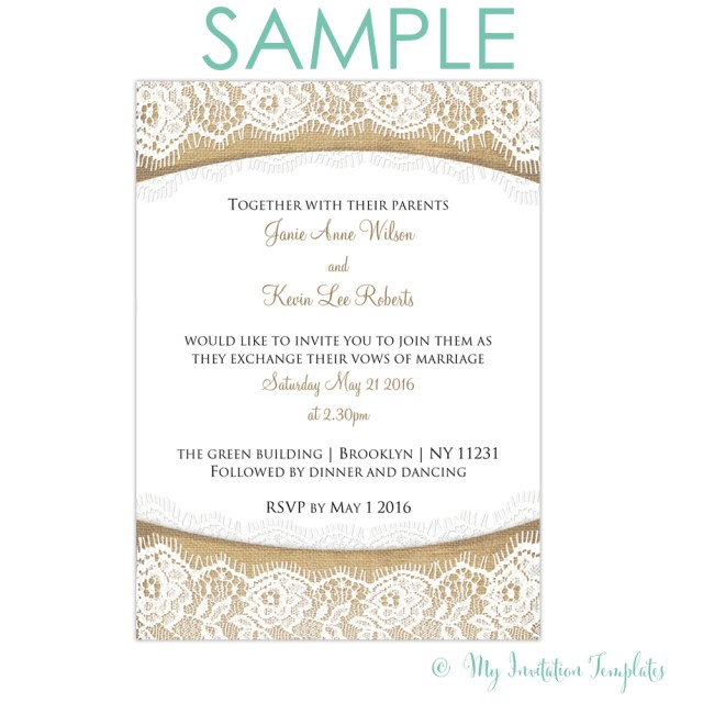 Free Wedding Invitations Rustic Burlap And Lace Wedding Invitation Free Sample Rs