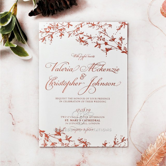 Garden Wedding Invitations Garden Wedding Foliage Woodland Themed In Rose Gold