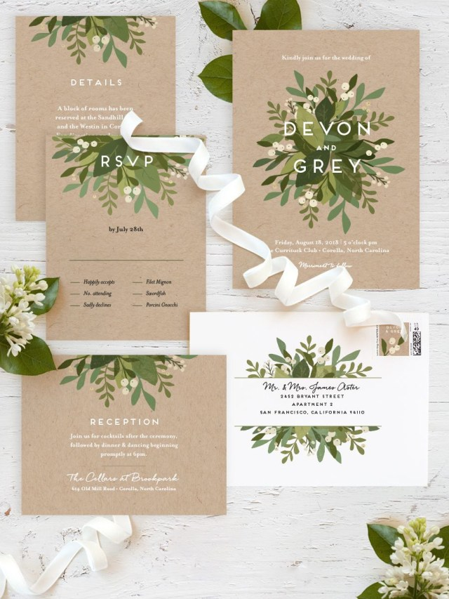 Garden Wedding Invitations Laurel Of Greens Wedding Invitations Pinterest Wedding