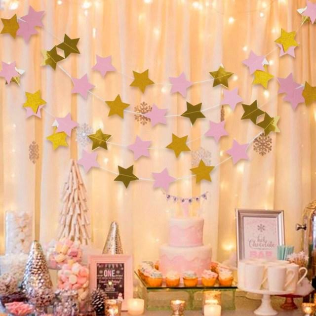Garland Wedding Decor 2m Gold Pink Blue Star Banner Birthday Party Decoration Kids Garland